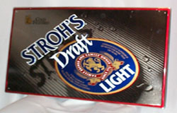 Stroh's Draft Light Beer Metal Sign